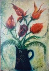Edouard Joseph GOERG - Peinture - Les tulipes perroquets