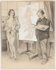 "Frana SMATEK - Dessin-Aquarelle - ""Artist and his model"", drawing, 1932"
