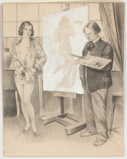 "Frana SMATEK - Disegno Acquarello - ""Artist and his model"", drawing, 1932"