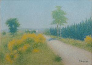 Achille LAUGÉ - Dibujo Acuarela - Chemin aux environs de Cailhau