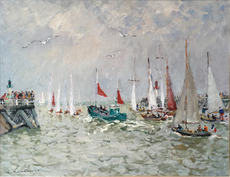 André HAMBOURG - Painting - Le bateau de peche vert aux voiles rouge