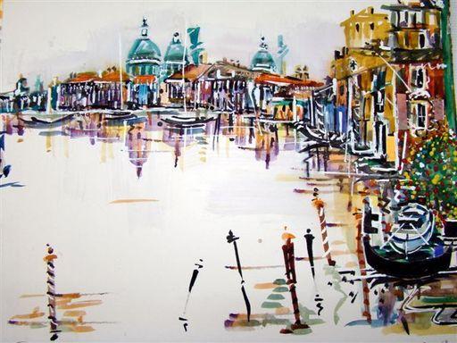Albert SOCIAS - Peinture - Canal à Venise