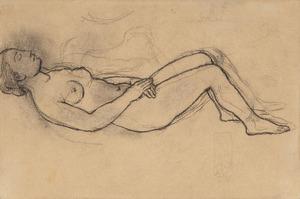 Pablo PICASSO - Drawing-Watercolor - Nu étendu