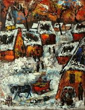 Henry Maurice D'ANTY - Pintura - Village sous la neige