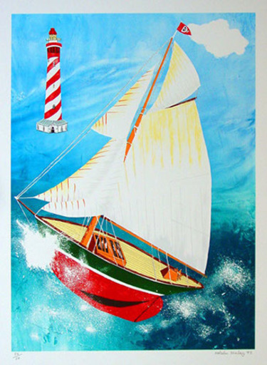 Malcolm MORLEY - Grabado - Pamela Running Before the Wind With a Dutch Lighthouse