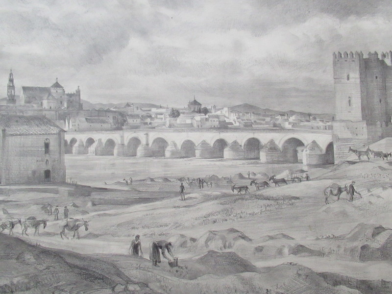 René COTTET - Dibujo Acuarela - Vue panoramique de Cordoue.Cordoba.