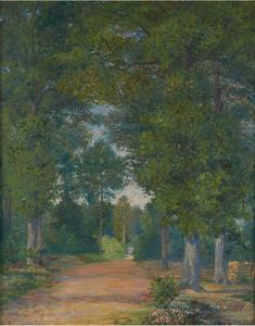 Albert DUBOIS-PILLET - Painting - Paysage de forêt à Vigouroux