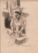 "Hermine DAVID - Drawing-Watercolor - ""La repasseuse antillaise"""