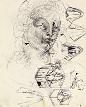 Salvador DALI - Drawing-Watercolor - Études double-face