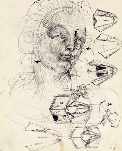 Salvador DALI - Disegno Acquarello - Études double-face