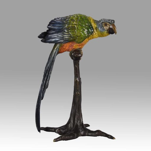 Franz BERGMAN - Sculpture-Volume - Parrot on a Branch