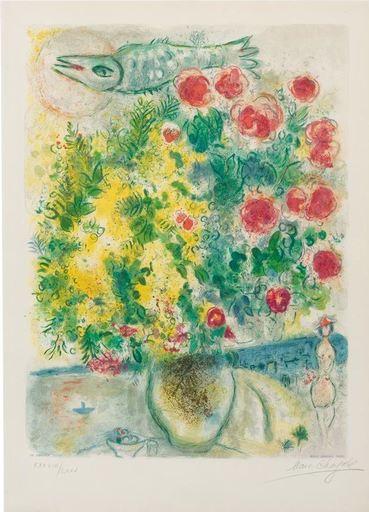 马克•夏加尔 - 版画 - Roses et Mimosa's (Nice et la Côte d'Azur series)