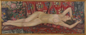 "Alfred WAAGNER - Gemälde - ""Reclining female nude"", monumental oil painting, late 1910s"