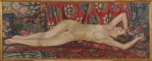 "Alfred WAAGNER - Pittura - ""Reclining female nude"", monumental oil painting, late 1910s"