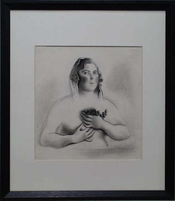 """Gottfried GOEBEL - Disegno Acquarello - """"Woman with Grapes"""" by Gottfried Goebel, 1940's"""