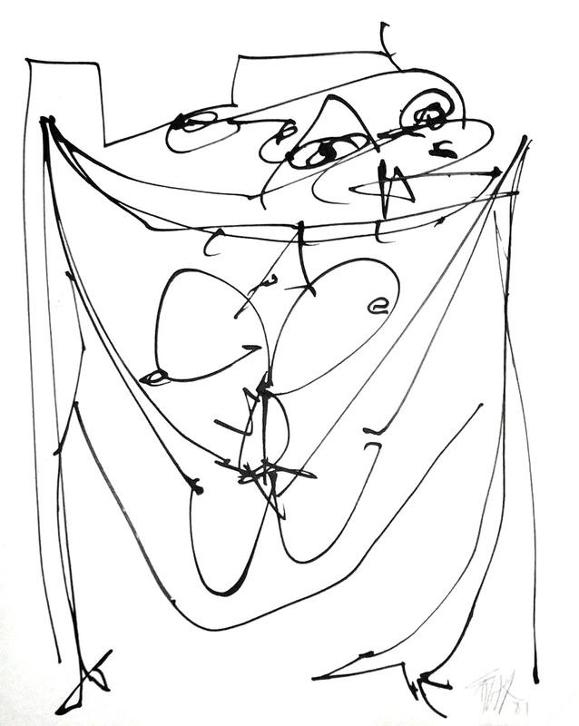 Antonio SAURA - Drawing-Watercolor - Lady