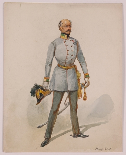 """Franz GAUL - Dessin-Aquarelle - """"Field Marshall Haynau"""" by Franz Gaul, late 19th Century"""