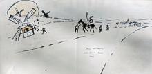 Jean-Pierre CHEVASSUS-AGNES - Drawing-Watercolor - Don Quichotte, Sancho, et les moulins à vent