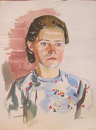 Erich HARTMANN - Dibujo Acuarela - #19951: Junge Frau mit Bluse.