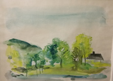 Wilhelm THÖNY - Drawing-Watercolor - Haus am Bach