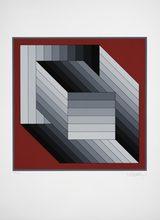 Victor VASARELY - Estampe-Multiple - 2 Quader mit grauen Streifen auf rotem Gr