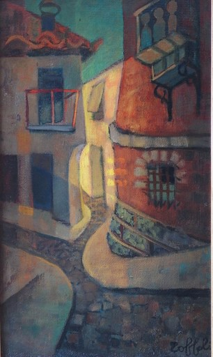 Louis TOFFOLI - Painting - Old street at Ibdes
