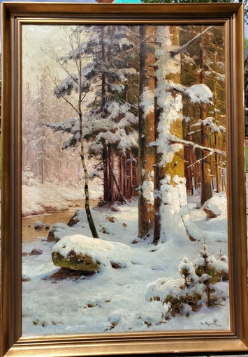 Walter MORAS - Painting - Winter Lanscape