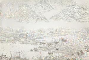Jongsook KIM - Gemälde - ARTIFICIAL LANDSCAPE- Silver Picture,
