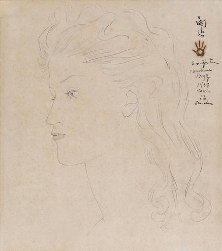 Tsuguharu FOUJITA - Zeichnung Aquarell - Portrait de jeune femme blonde