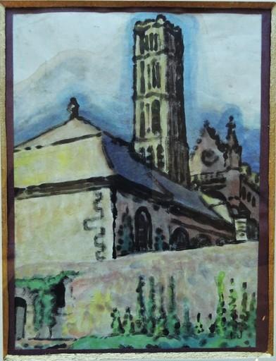 Léon JOUHAUD - Zeichnung Aquarell - La cathédrale de Limoges, c.1925