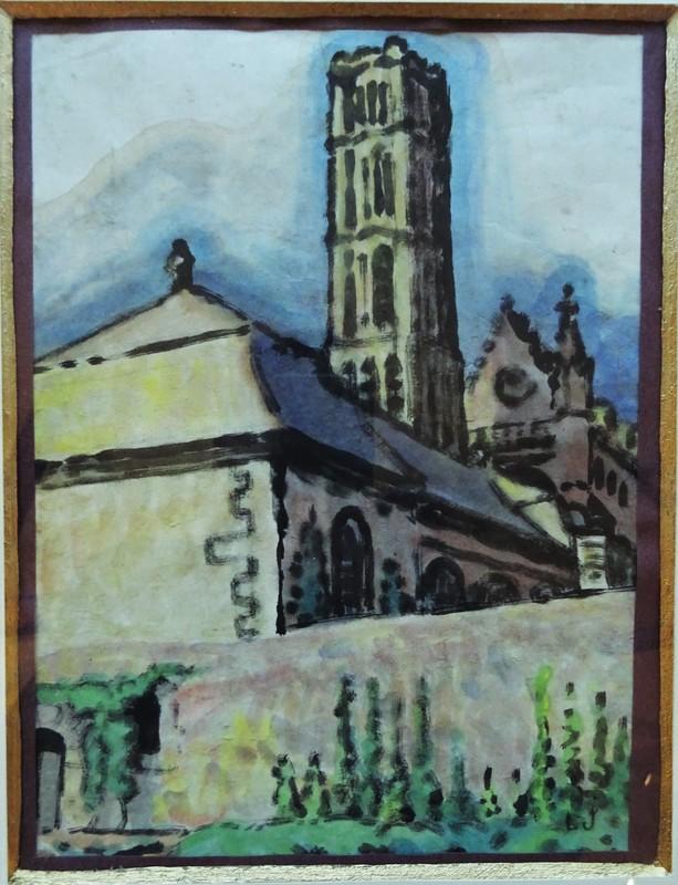 Léon JOUHAUD - Drawing-Watercolor - La cathédrale de Limoges, c.1925