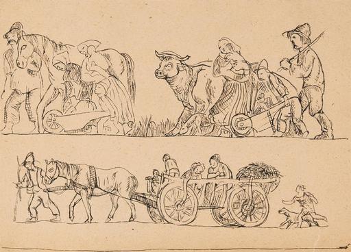 Béla KADAR - Drawing-Watercolor - Country scene