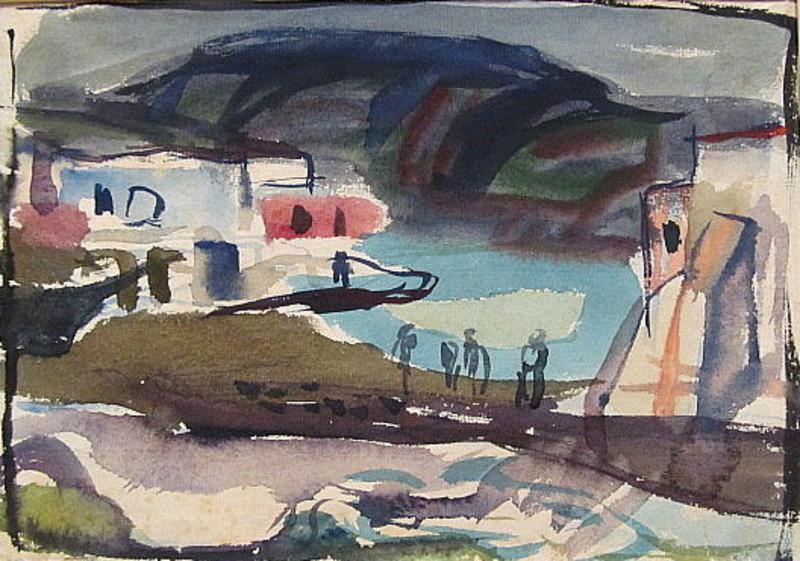 Erich HARTMANN - Disegno Acquarello - Ischia: St. Angelo
