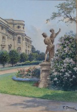 "Franz DEMEL - Dibujo Acuarela - August Waidhofer (Pseudonym F. Demel), ""Motive of Vienna"""