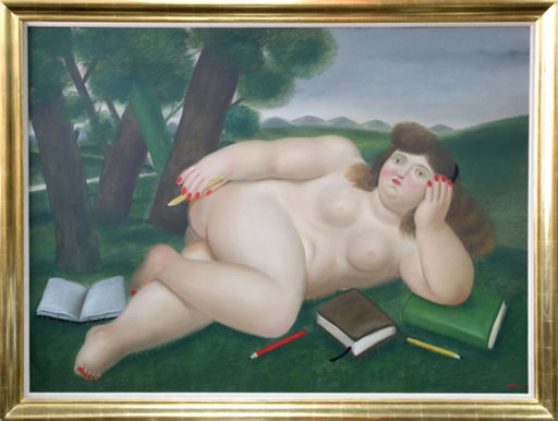 Fernando BOTERO - Pittura - Reclining Nude with Books and Pencils on Lawn