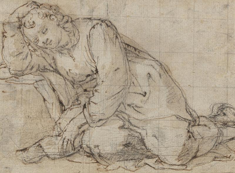 Raffaello de'Carli DEL GARBO - Drawing-Watercolor - Recto : Sleeping Reclining Figure, Verso : Drapery Study