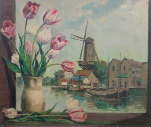 Antonio SANTAFE LAGARCHA - Painting - Tulipanes