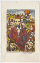 "Boris DEUTSCH - Dibujo Acuarela - ""Jewish peple"", watercolor over etching"