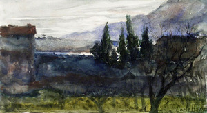 Carlo Paolo AGAZZI - Drawing-Watercolor - LANDSCAPE WITH TREES AND HOUSES