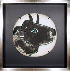 Pablo PICASSO - Ceramic - Profil de Taureau fonce