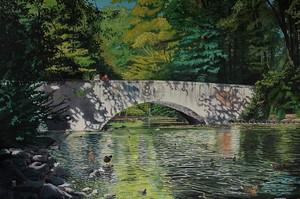 Michael GREGOR - Painting - Kanalbrücke im Stadtwald