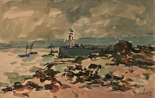 Fernand HERBO - Disegno Acquarello - Le phare, Honfleur, Normandie
