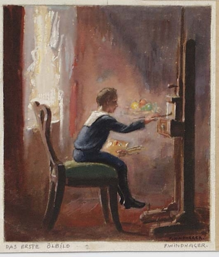 """Franz WINDHAGER - Disegno Acquarello - """"Little Painter"""" by Franz Windhager, ca 1930"""