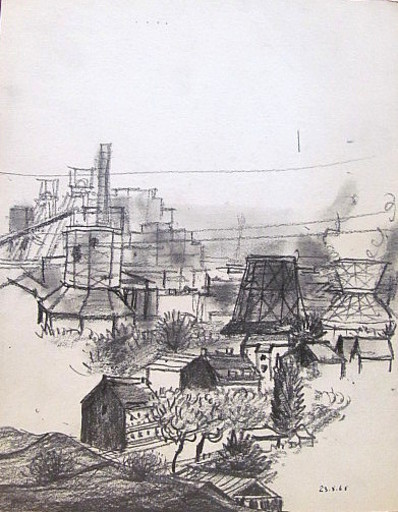 Friedrich EINHOFF - Drawing-Watercolor - #20017: Blick Zeche Wilhelm Victoria..