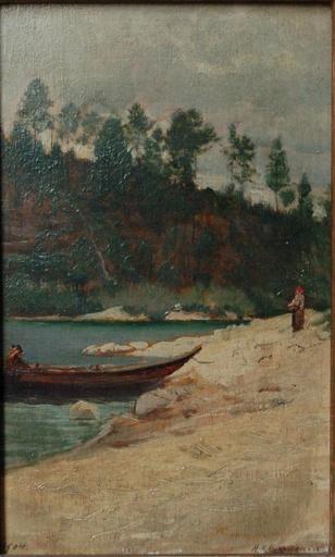 Henri Edouard HUGUENIN-VIRCHAUX - Painting - Bord de lac en montagne