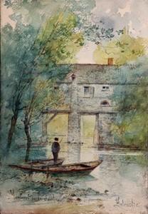 """F. LETEURTRE - Drawing-Watercolor - """"MOULINET SUR LE SANDRE"""""""