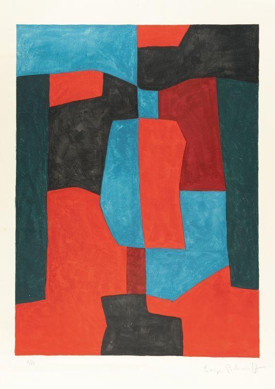 Serge POLIAKOFF - Print-Multiple - Composition rouge, verte et bleue n°76