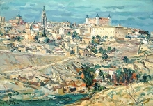 Jean RIGAUD - Painting - Tolède,la cathédrale et l'Alcazar