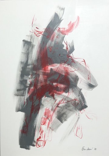 Nicole LEIDENFROST - Gemälde - bull - abstract - grey
