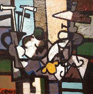 Claude VENARD - Gemälde - Composition à la Lampe